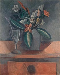 Flowers in a Grey Jar, 1908 von Picasso | Gemälde-Reproduktion