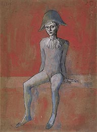 Harlequin sitting on red background | Picasso | Painting Reproduction