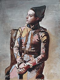 Seated Harlequin, 1923 by Picasso | Painting Reproduction