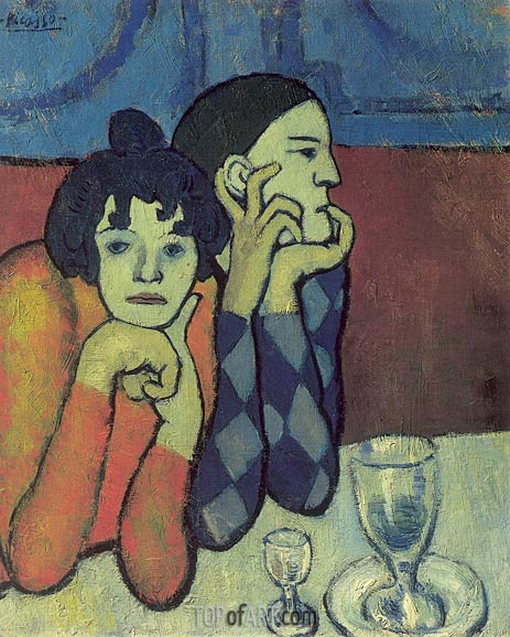 Picasso | Harlequin and his Girl-Friend (Wandering Gymnasts), 1901