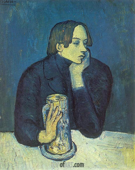 Portrait of Poet Sabartes, 1902 | Picasso | Painting Reproduction