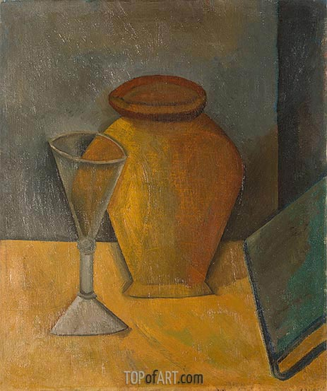 Pot, Glass and Book, 1908 | Picasso | Gemälde Reproduktion