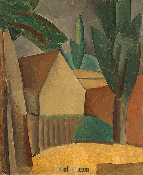 House in a Garden, 1908 | Picasso | Painting Reproduction