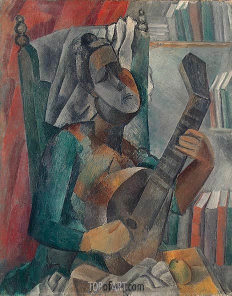 Woman with a Mandolin, 1909 | Picasso | Painting Reproduction