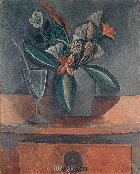 Flowers in a Grey Jar, 1908 | Picasso | Painting Reproduction