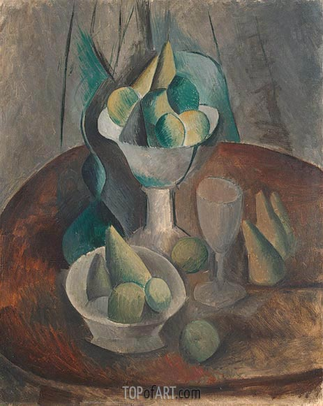 Fruit in a Vase, 1909 | Picasso | Gemälde Reproduktion
