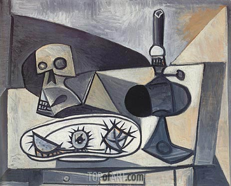Still Life with Skull, Sea Urchins and Lamp, 1946 | Picasso | Painting Reproduction