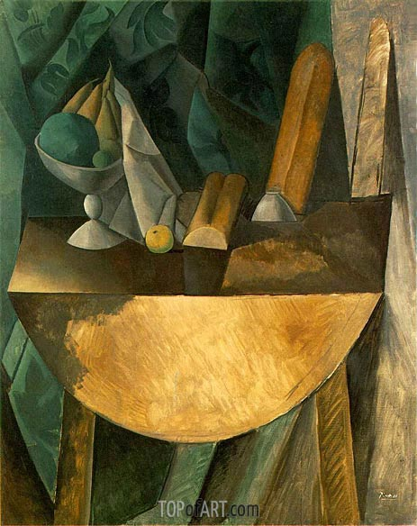 Bowl of Fruit and Bread on a Table, 1909 | Picasso | Painting Reproduction