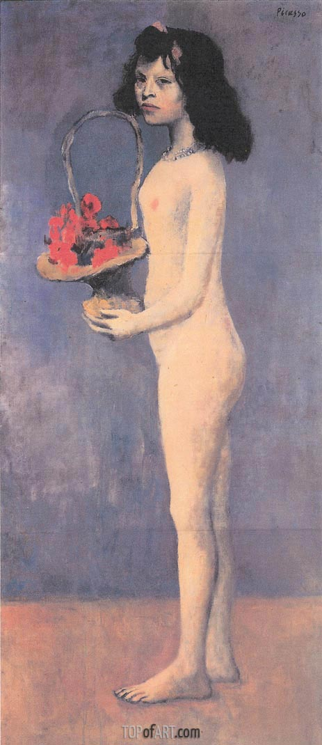 Girl with a Basket of Flowers, 1905 | Picasso | Painting Reproduction