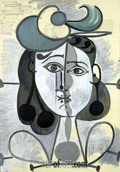 Porträt von Francoise Gilot, c.1947/48 | Picasso | Gemälde Reproduktion