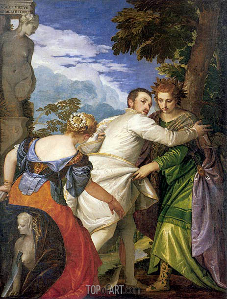 Allegory of Virtue and Vice (Choice of Hercules), c.1580 | Veronese | Gemälde Reproduktion