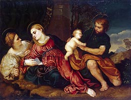 Holy Family with St Catherine, c.1520/22 von Paris Bordone | Gemälde-Reproduktion