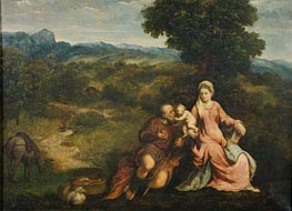 Rest on the flight into Egypt, c.1520/30 von Paris Bordone | Gemälde-Reproduktion