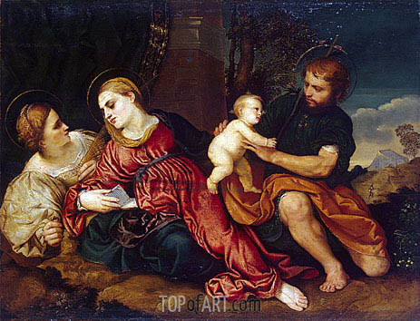 Holy Family with St Catherine, c.1520/22 | Paris Bordone | Gemälde Reproduktion