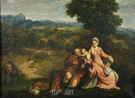 Rest on the flight into Egypt, c.1520/30 | Paris Bordone | Painting Reproduction