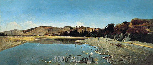 The Village of Saint-Paul on the Banks of the Durance, 1865 | Paul-Camille Guigou | Painting Reproduction