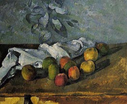 Apples and Napkin, c.1879/80 by Cezanne | Painting Reproduction