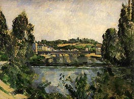 The Bridge and Waterfall at Pontoise, 1881 by Cezanne | Painting Reproduction