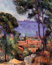 View through Trees, L'Estaque, c.1883/85 by Cezanne | Painting Reproduction