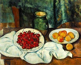 Still Life with Cherries and Peaches, c.1885/87 by Cezanne | Painting Reproduction