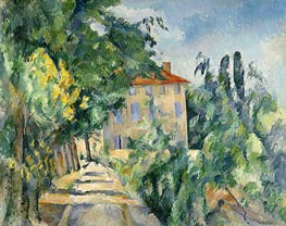 House with the Red Roof at Jas de Bouffan, c.1885/86 by Cezanne | Painting Reproduction