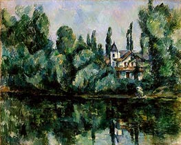 Banks of the Marne (Villa on the Bank of a River), c.1888 by Cezanne | Painting Reproduction