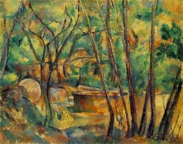 Well, Millstone and Cistern Under Trees, c.1892/94 by Cezanne | Painting Reproduction