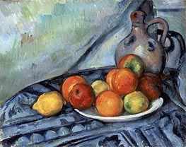 Fruit and Jug on a Table, c.1890/94 by Cezanne | Painting Reproduction