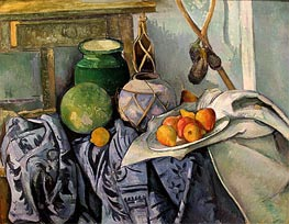 Still Life with a Ginger Jar and Eggplants, c.1890/94 by Cezanne | Painting Reproduction