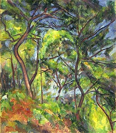Forest Sous-Bois, c.1894 by Cezanne | Painting Reproduction