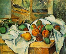 Table Napkin and Fruit, c.1895 by Cezanne | Painting Reproduction