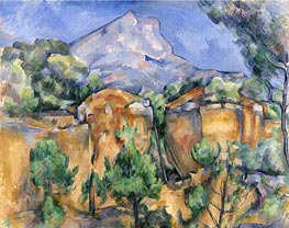 Mont Sainte-Victoire Seen from the Bibemus Quarry, c.1897 by Cezanne | Painting Reproduction