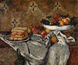 Compotier and Plate of Biscuits, c.1877 by Cezanne | Painting Reproduction
