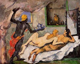 Afternoon in Naples with a Black Servant, c.1875/77 by Cezanne | Painting Reproduction