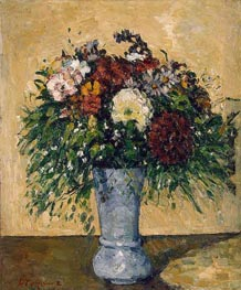 Flowers in a Blue Vase, c.1873/75 by Cezanne | Painting Reproduction