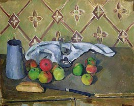 Fruit, Serviette and Milk Jug, c.1879/82 by Cezanne | Painting Reproduction