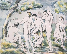Bathers in a Landscape, 1898 by Cezanne | Painting Reproduction