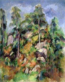 Rocks and Trees in Provence, c.1900 by Cezanne | Painting Reproduction