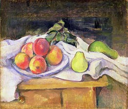 Still Life with Peaches and Pears, c.1890 by Cezanne | Painting Reproduction