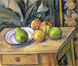 Fruit and Tapestry, undated by Cezanne | Painting Reproduction