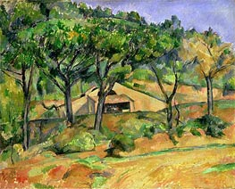 House on a Hillside, undated by Cezanne | Painting Reproduction
