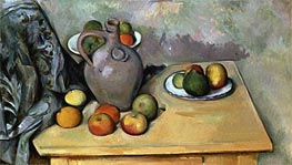 Still Life with Blue Drapery, c.1893/94 by Cezanne | Painting Reproduction