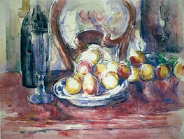 Still Life with Apples, Bottle and Chairback, undated by Cezanne | Painting Reproduction