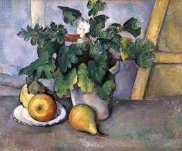 Pot of Flowers and Pears, c.1888/90 by Cezanne | Painting Reproduction
