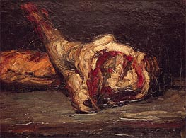 Still Life of a Leg of Mutton and Bread, 1865 by Cezanne | Painting Reproduction