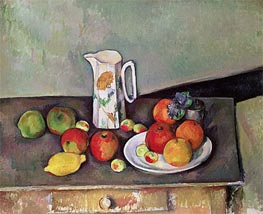 Still Life with Milkjug and Fruit, c.1886/90 by Cezanne | Painting Reproduction