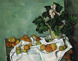 Still Life with Apples and a Pot of Primroses, c.1890 by Cezanne | Painting Reproduction