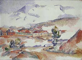 Montagne Sainte-Victoire from near Gardanne, c.1887 by Cezanne | Painting Reproduction