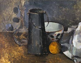 Still Life with Carafe, Milk Can, Coffee Bowl and Orange | Cezanne | Painting Reproduction
