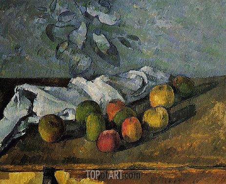 Apples and Napkin, c.1879/80 | Cezanne | Painting Reproduction
